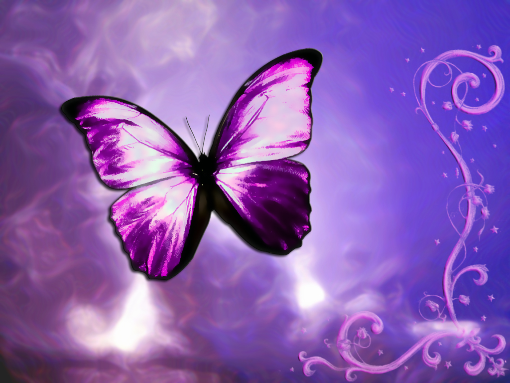 Purple 3D Butterfly Tattoos
